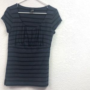 Ann Taylor Casual Striped Cap Sleeve Modal Top